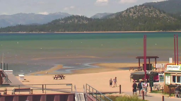 Lake Tahoe right next to the Truckee River outlet today.