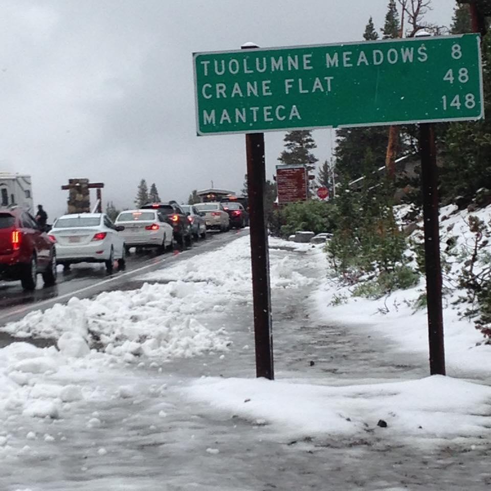 Tioga Pass, CA snow today. photo: caltrans
