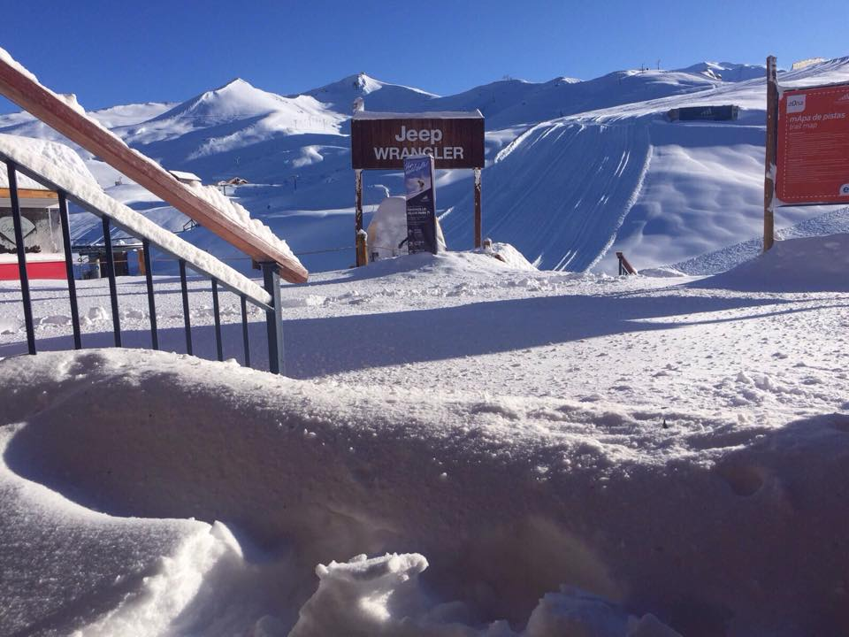 Vale Nevado ski resort in northern Chile with new snow yesterday.