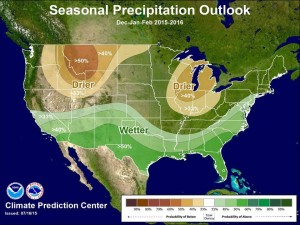 NOAA precipitation forecast for winter 2015/16. NOAA expects higher than average precip in the southern half of the country and drier than average conditions in the Pacific Northwest