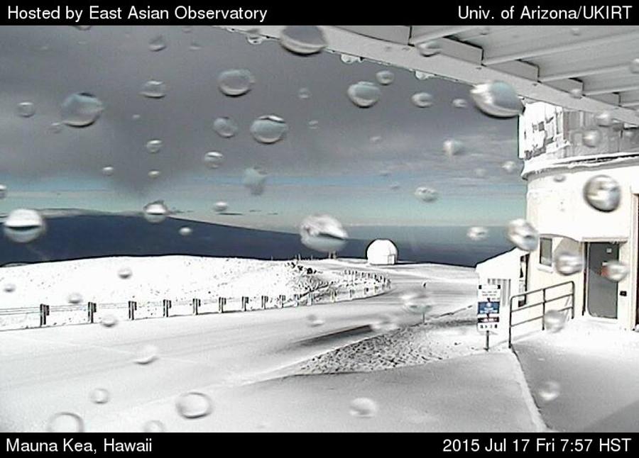 Snow on 13,800 Mauna Kea in Hawaii yesterday.