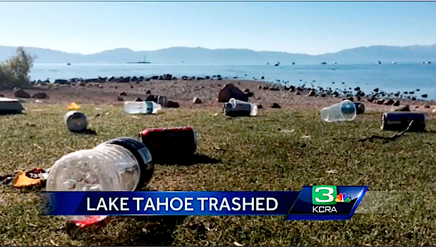 """2,300 pounds of garbage were left on Lake Tahoe's beaches after firework shows this past 4th of July. Tahoe is one of the most beautiful places on Earth. Who would trash it like this? Fortunately, """"Keep Tahoe Blue"""" found 120 volunteers to help clean up the litter. """"We collected nearly 2,300 pounds of trash from five beaches, including at least 1,500 cigarette butts."""" - Jesse Patterson, deputy director of Keep Tahoe Blue This clean up effort was the 2nd annual """"Keep Tahoe Red, White, and Blue Beach Cleanups campaign. These folks cleaned 3 miles of Tahoe's shoreline which represents only 5% of the lake's shoreline."""