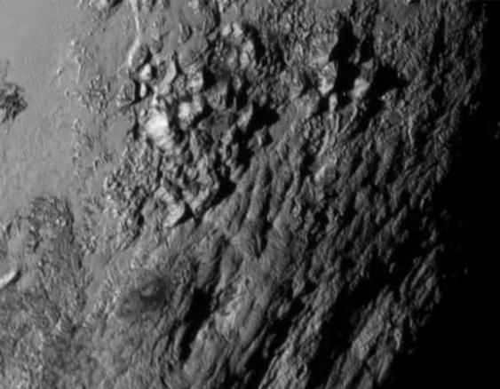 The Ice Mountains of Pluto via New Horizons spacecraft