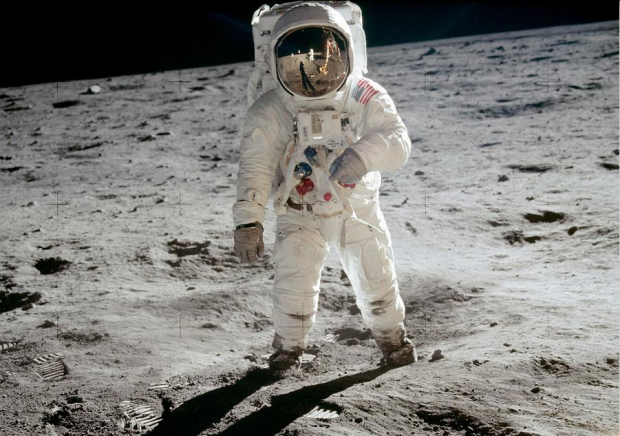 """Astronaut Buzz Aldrin, lunar module pilot, walks on the surface of the Moon near the leg of the Lunar Module (LM) """"Eagle"""" during the Apollo 11 extravehicular activity on July 20, 1969. Astronaut Neil A. Armstrong, commander, took this photograph with a 70mm lunar surface camera. While astronauts Armstrong and Aldrin explored the Sea of Tranquility region of the Moon and astronaut Michael Collins, command module pilot, remained with the Command and Service Modules (CSM) """"Columbia"""" in lunar orbit. #"""