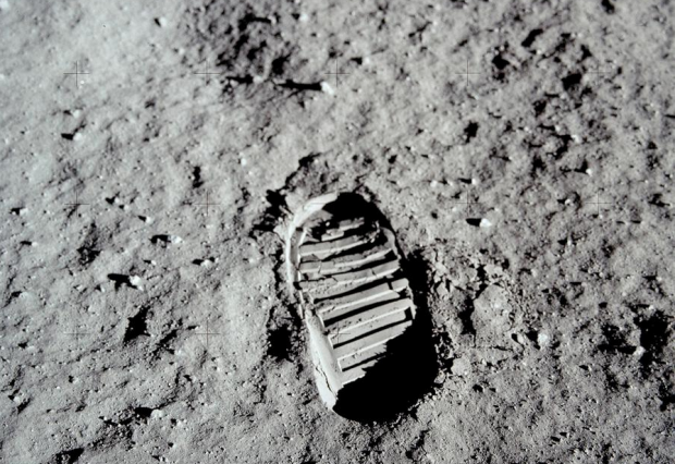 Photo of one of the very first footsteps on the moon.  Buzz Aldrin's footstep.  photo:  NASA