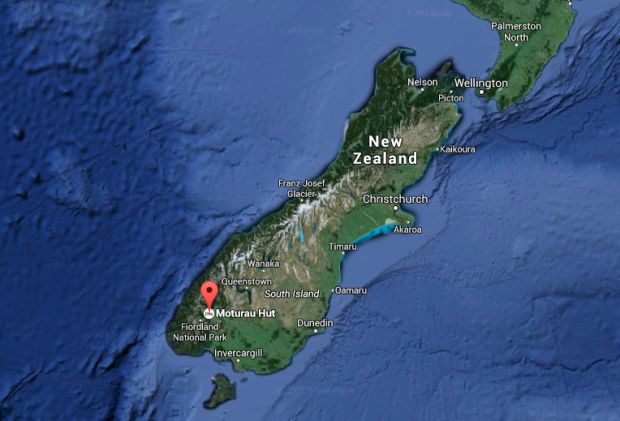 Map showing the location of the Moturau Hut on the Kepler Track where the two missing Canadians were last seen on Julu 9th