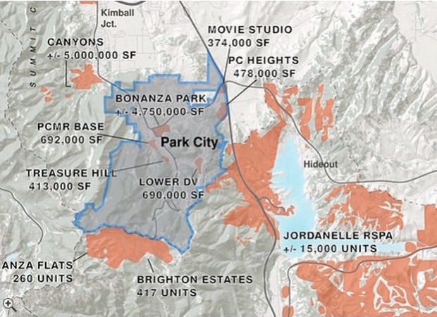 Park Record newspaper map showing 5,000,000 square feet of develpment land at the base of the Canyons