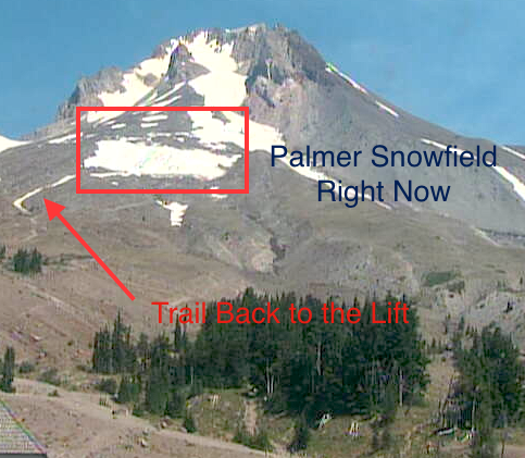 The Palmer Snowfield, where summer skiing/riding happens, looking small as of today.