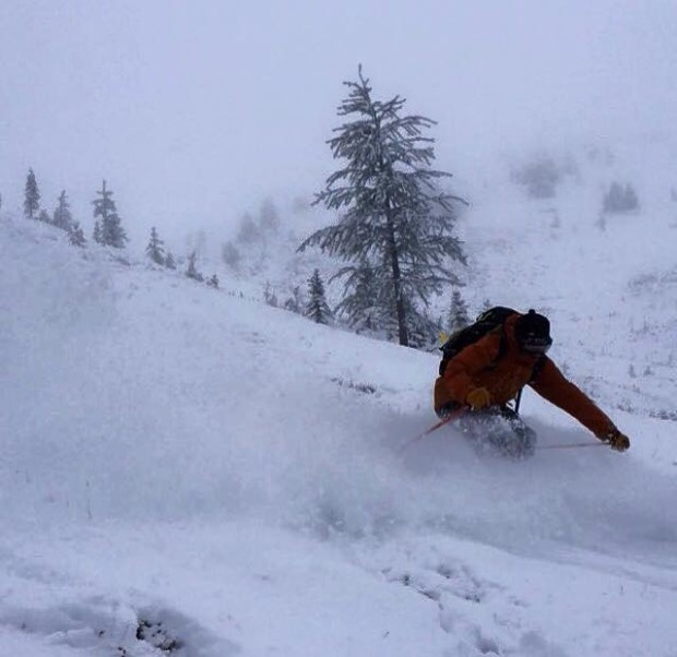 TODAY, Dustin Clark storm skiing outside Banff! First fresh turns of the 15/16 season in North America that we have seen! Cheers! Photo: Rance Tuff via powderchasers.com