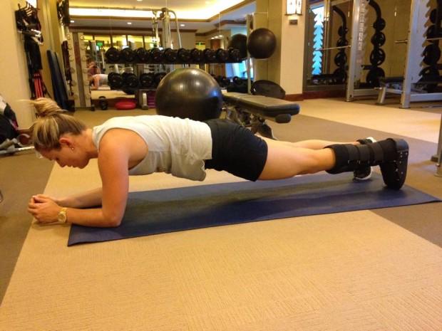 Lyndsey Vonn is already back in the gym training.