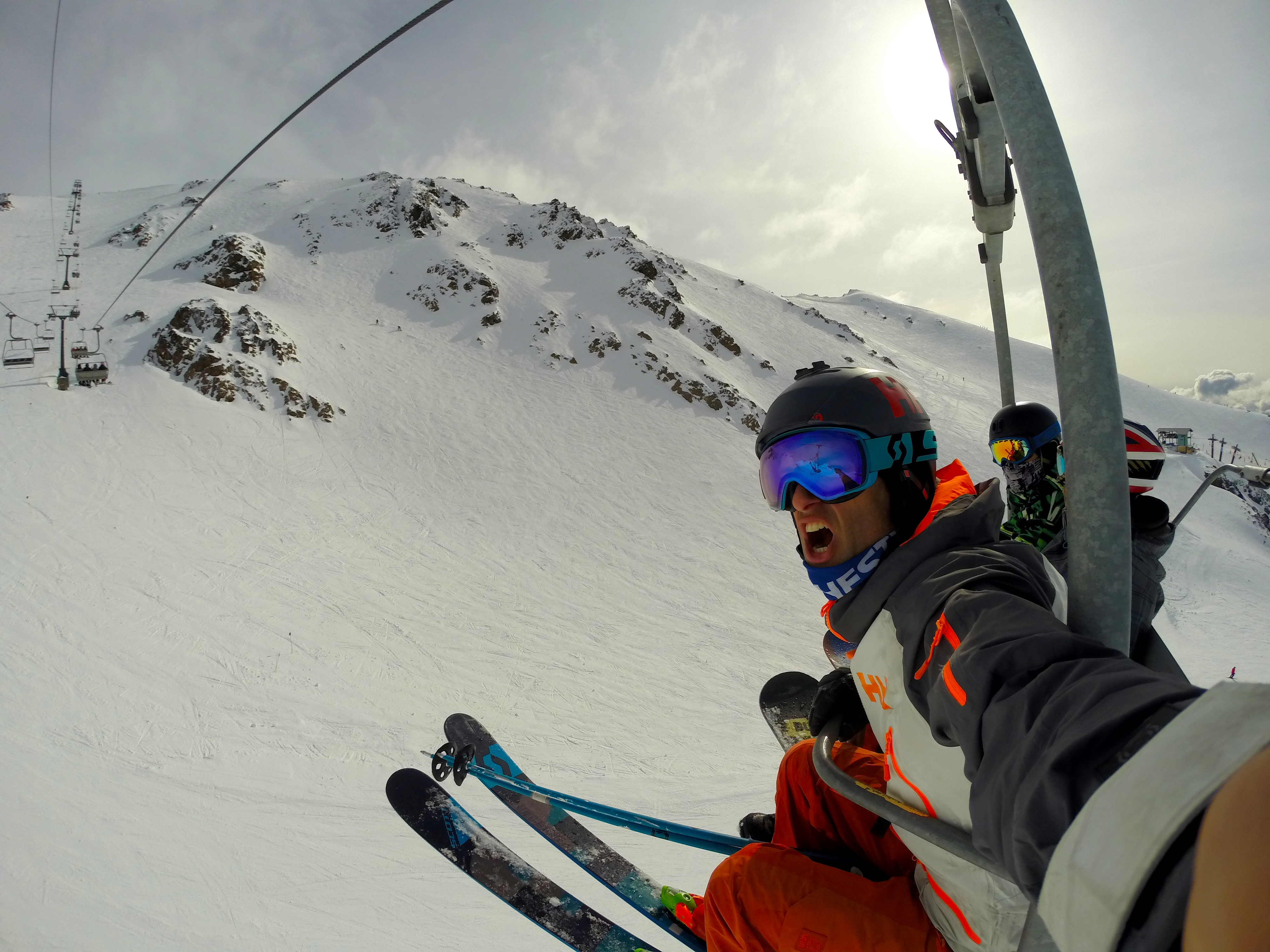 The author feeling the burn on the Nubes chair at Catedral ski resort in Bariloche, Argentina today.