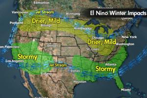 Meteorologist Chris Tomer's west-coast El Niño predictions for the 2015/2016 ski season. Copyright: Meteorologist Chris Tomer