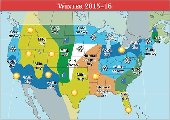 Old Farmers Almanac winter predictions for the USA in 2015-16