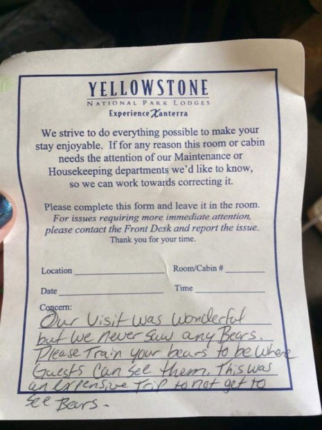 The note from the disgrunted Yellowstone National Park tourist about the untrained grizzly bears.