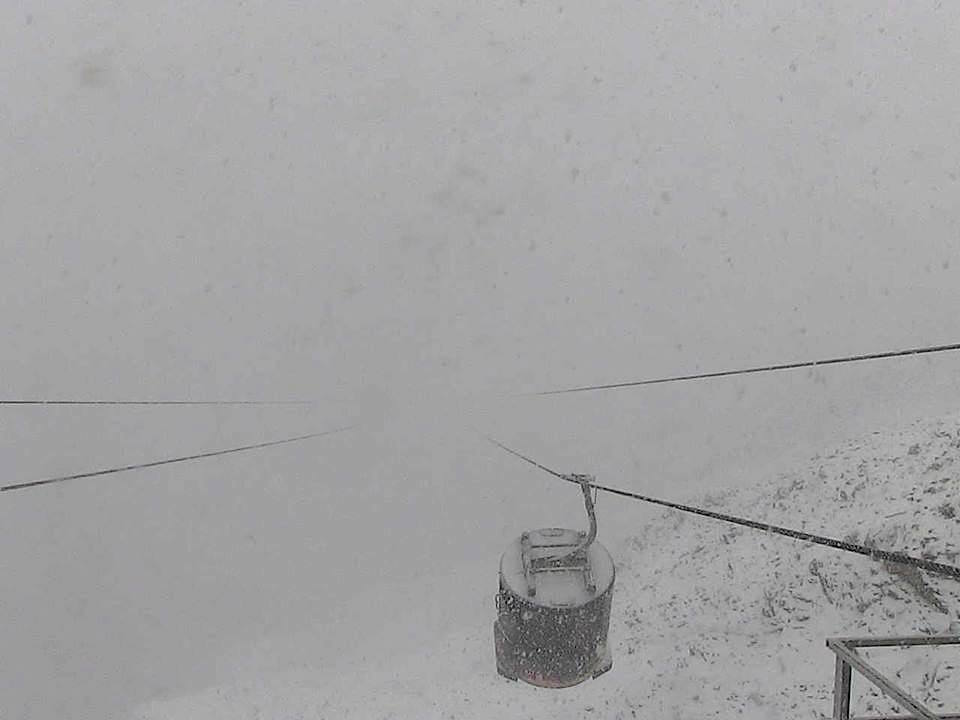 The top of Lone Peak right now at Big Sky ski resort in Montana at 11,166 feet!