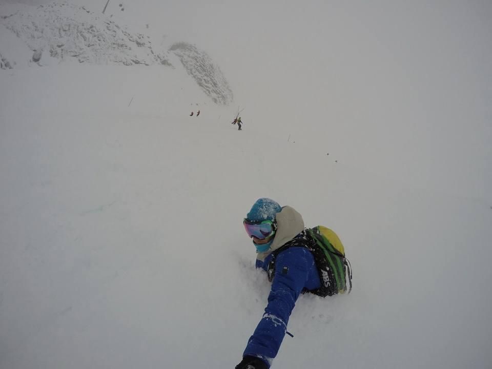 Waist deep at Hintertux Glacier, Austria today.