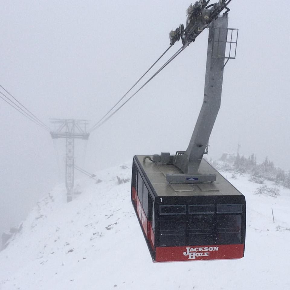 Snowing in Jackson Hole, WY today.