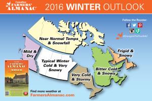 2016 canadian winter outlook by the farmers' almanac
