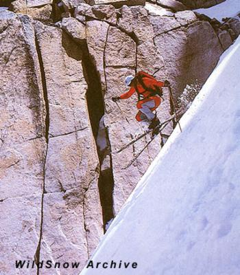 "Bela Vadasz in ""Chute Out"" in Ellery Bowl, Yosemite National Park, CA."