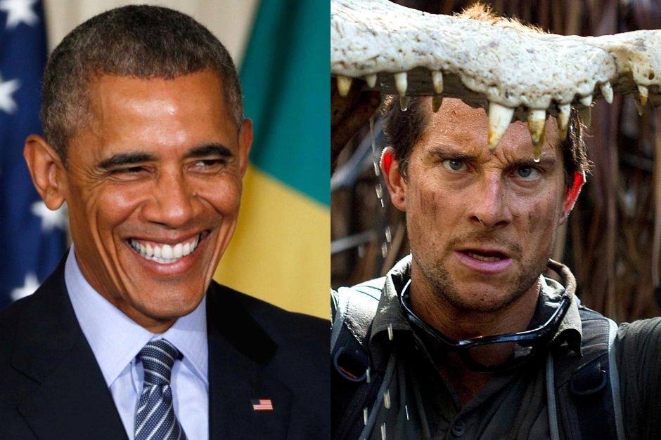 That's President Obama on the left and Bear Grylls on the right, people.