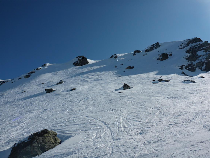 Looking up at lower Arcadia Chutes - some of the better snow on the mountain