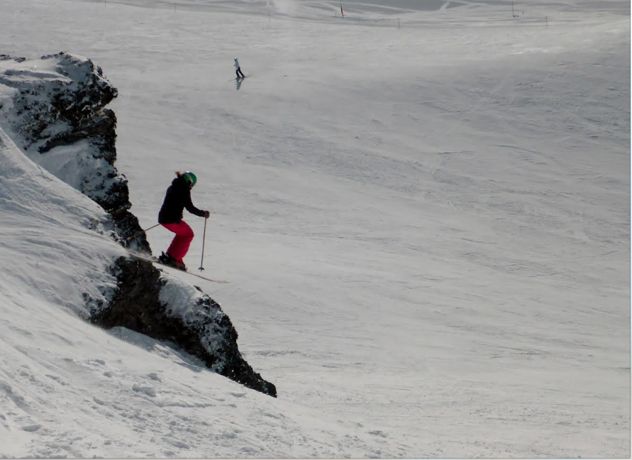 Athlete Marian Krogh finds nicely covered features in Captain's Basin