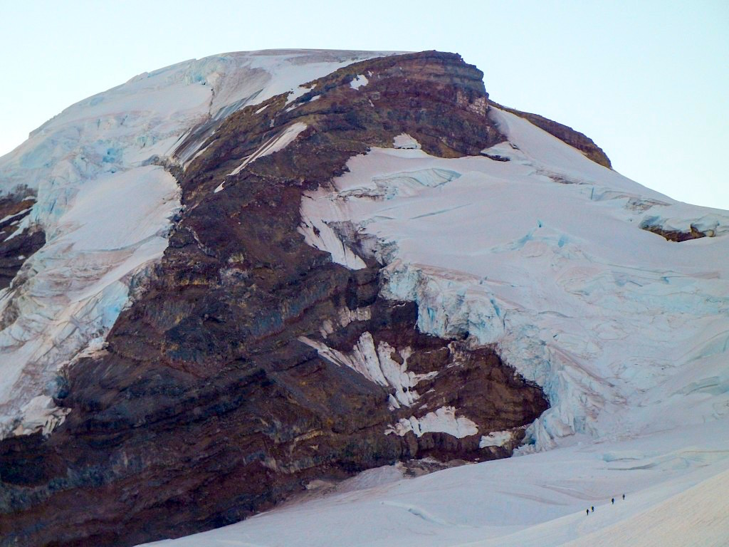 A team of climbers ascending the Coleman-Deming Route on Mount Baker. photo: Zeb Blais.