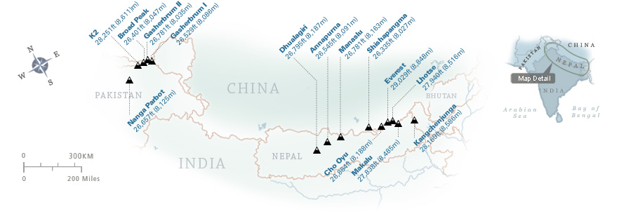 Map showing all 14 of the world's 8,000m peaks