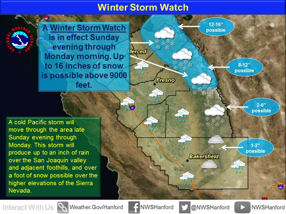 Winter Storm Watch issued by NOAA for California today.