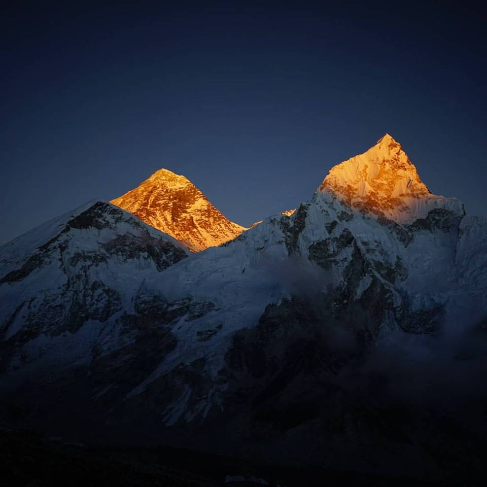 Mt. Everest yesterday in sunset alpenglow from near Everest Base Camp. photo: zeb blais/alpinemountainworks.com