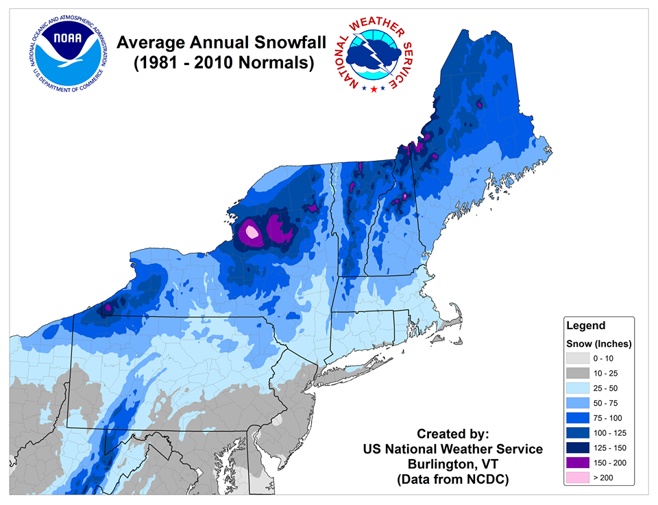 NOAA Map: Who Gets the Most Snow in The Northeast USA - SnowBrains