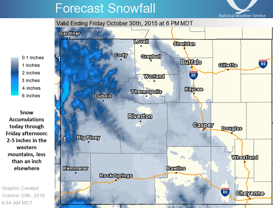 """Snow forecast for Wyoming showing up to 6"""" of new snow today."""