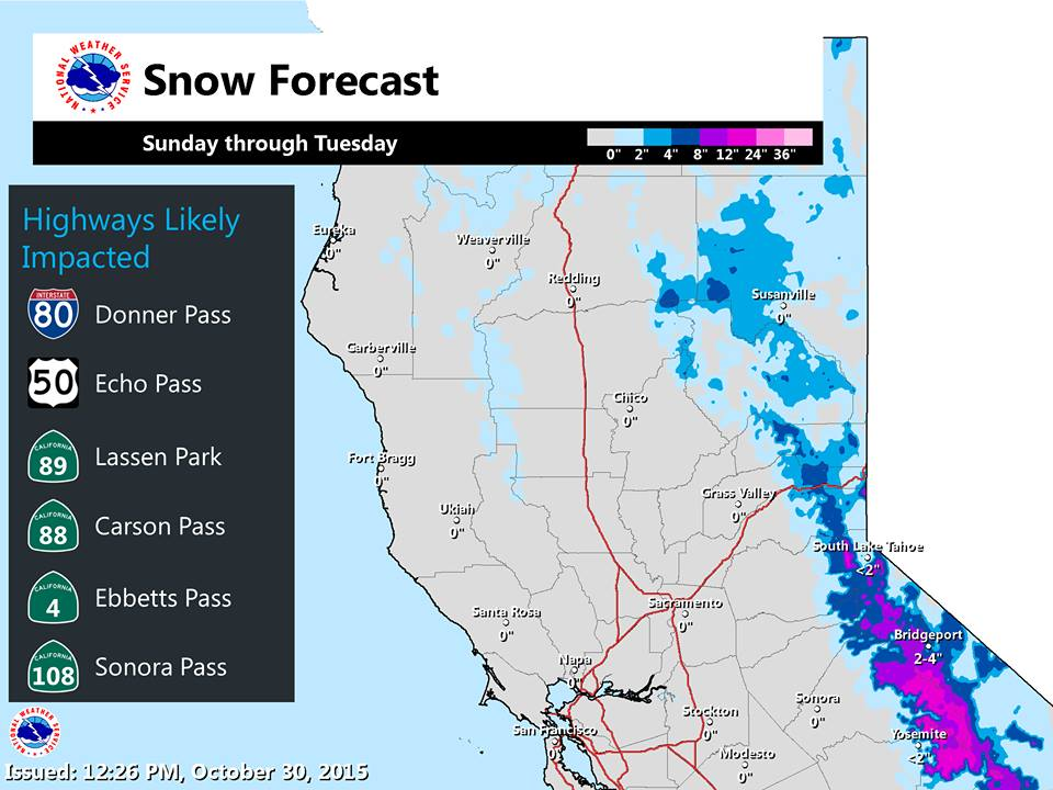 Snow will fall on the entire Sierra Nevada this weekend.  Map of snow totals for the Sierras.