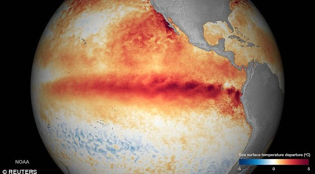 NASA and NOAA say that El Nino is strengthening and will impact our winter in North America. image released by NOAA on October 9th, 2015