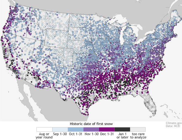 NOAA Map of Dates of First Snowfalls in USA: - Snowins Snow Map Usa on snowfall map usa, barometric pressure map usa, meth map usa, snake map usa, sea map usa, smog map usa, frost map usa, snow in usa, wood map usa, winter map usa, mountains map usa, spider map usa, fall color map usa, el nino map usa, star map usa, rainbow map usa, smoke map usa, rain map usa, uv index map usa, salmon map usa,