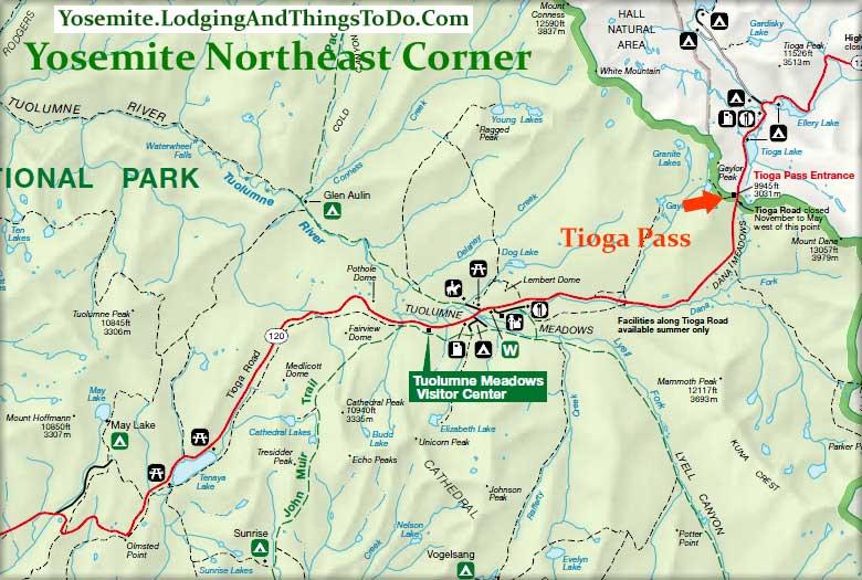 Map of Tioga Pass location.