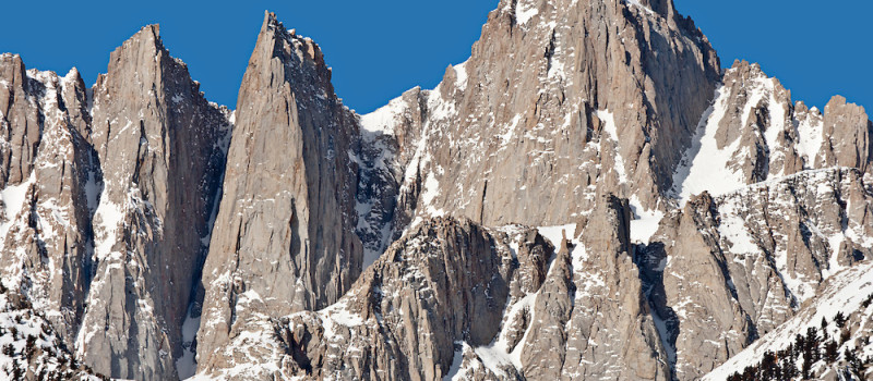 14497 ft Mount Whitney from the Alabama Hills, Sierra Range, CA in late winter. photo: ed book