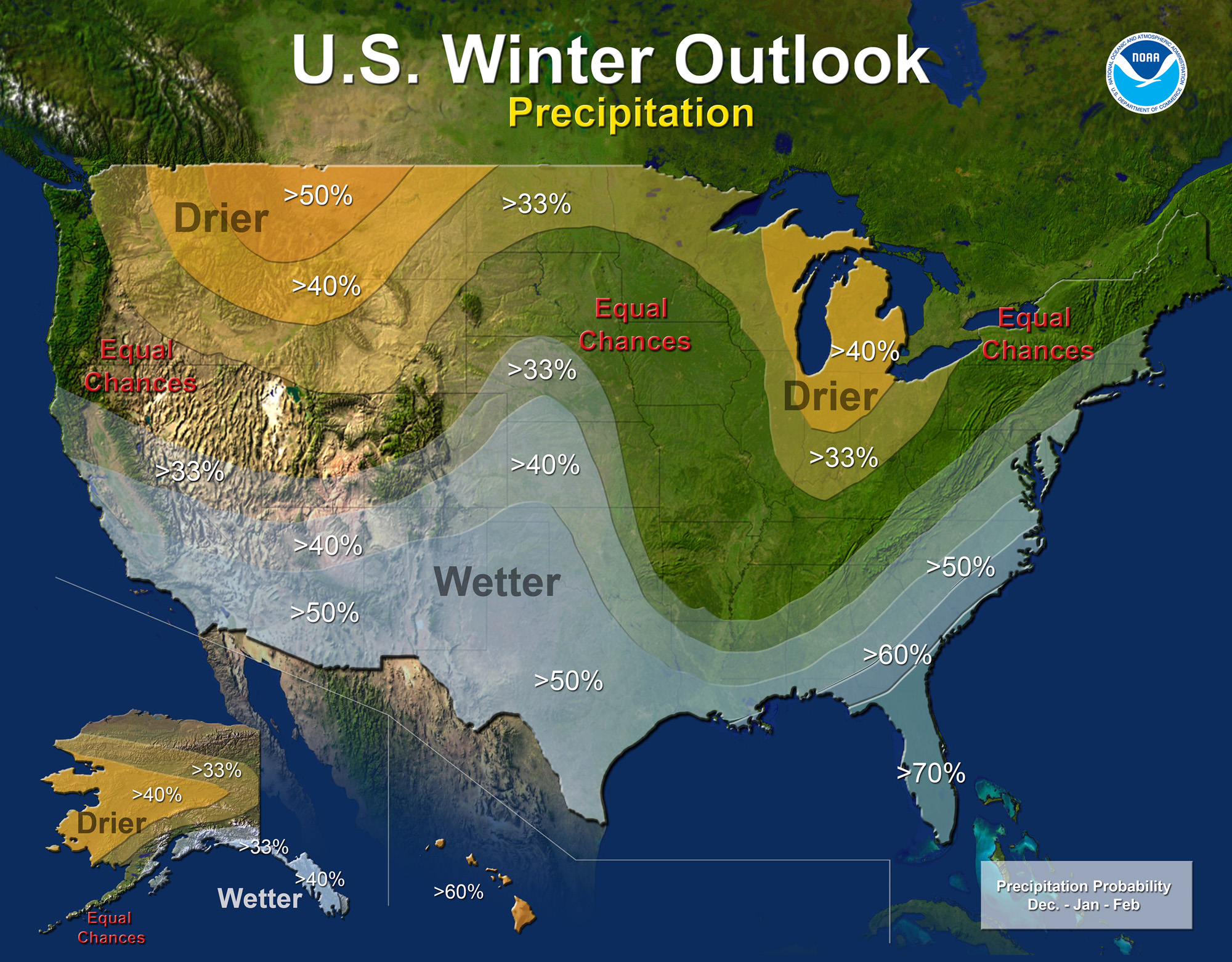 NOAA's official El Nino/Winter outlook for the USA shows a 33% chance or higher of above average precipitation in the Sierra Nevada, CA.