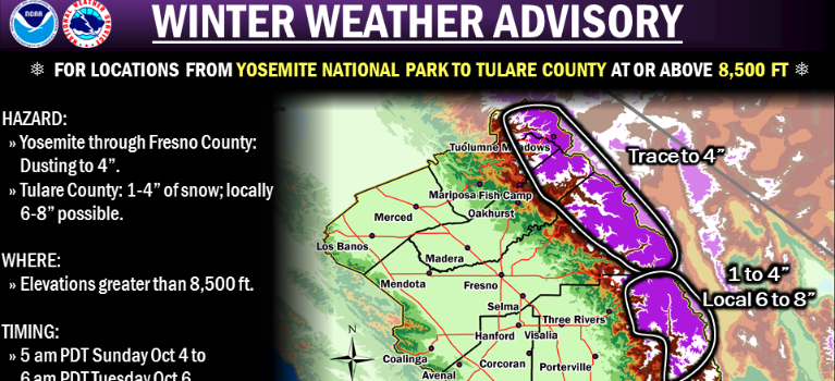 """1-4"""" of snow forecast for Yosemite. 6-8"""" forecast for the big mountains down south."""