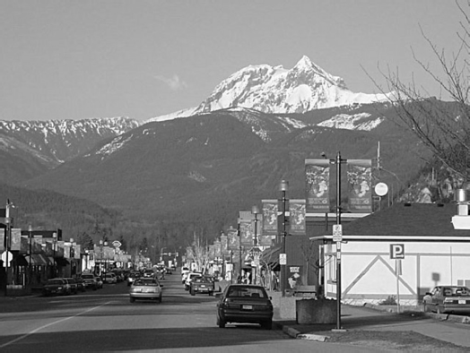 A view of Brohm Ridge and Garibaldi from Downtown Squamish, the site of the proposed resort. See? Not much snow, even in winter.