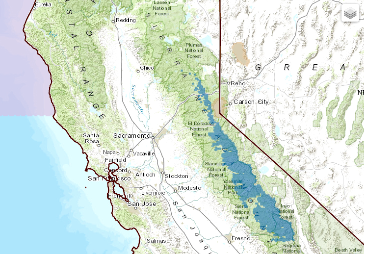 Map showing the exact areas that will be under the Winter Storm Watch in California on Sunday & Monday.