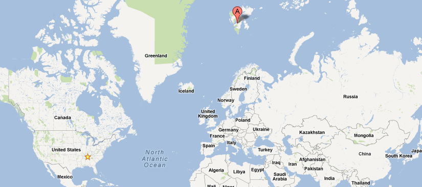 Map of Svalbard. Yeah, it's way out there.