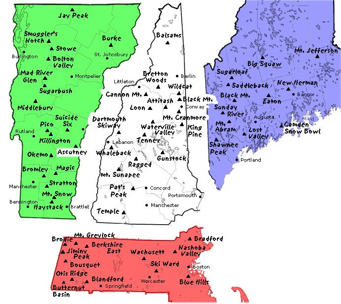 Skiing New England Map.Ski Areas Of New England Map Snowbrains