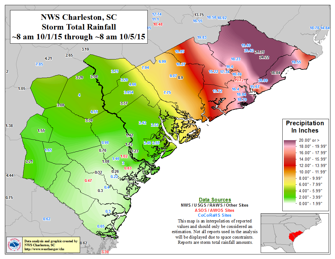 4 day rainfall amounts in South Carolina Oct. 1 to Oct. 5. image: noaa