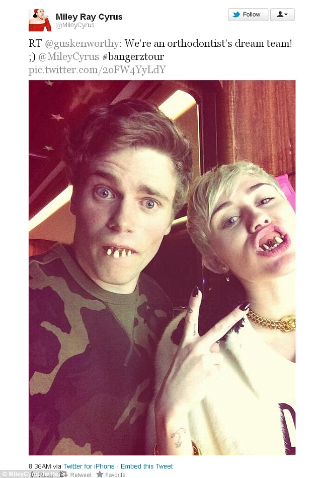 Gus hanging with Miley Cyrus last year.