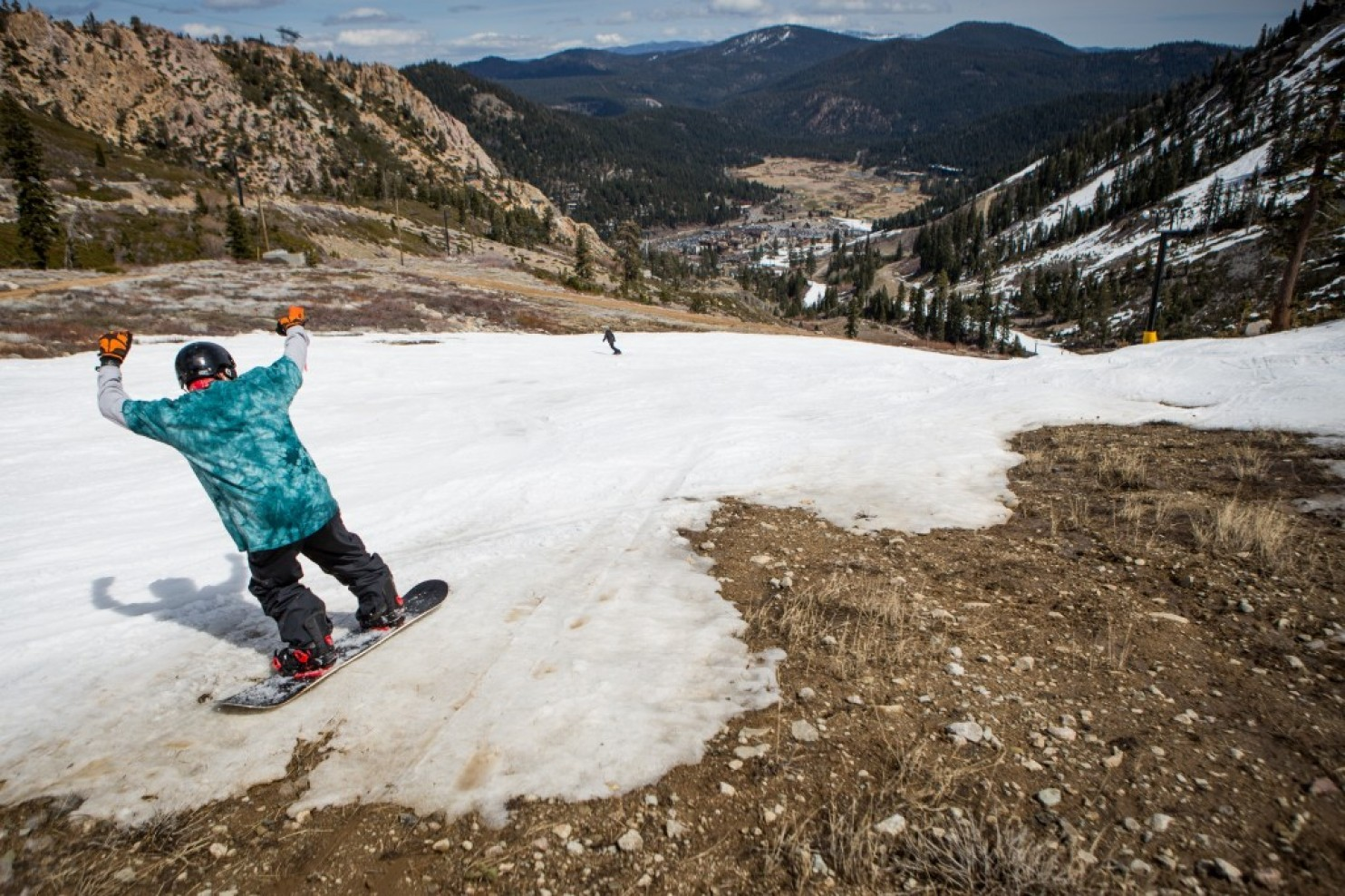 Squaw Valley, CA during last year's historically low snow year in California. photo: washingtontimes.com
