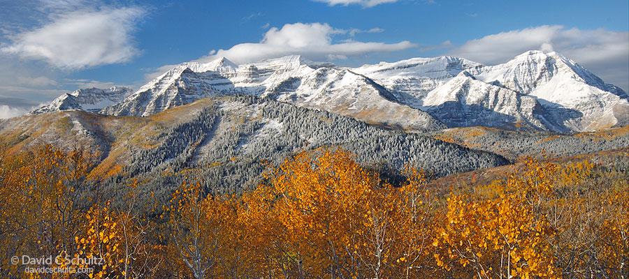 Mount Timpanogos and the Wasatch Mountains of Utah under autumn snow. photo: davidcschultz.com