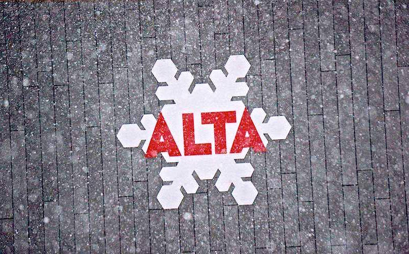 Stock photo of snow and the Alta sign. photo: alta