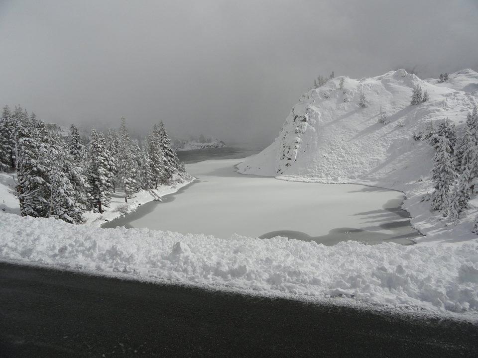 Tioga Pass road today and lake Tioga.