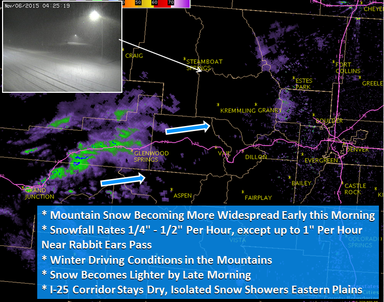 """Up to 1"""" per hour snowfall in Colorado this morning"""